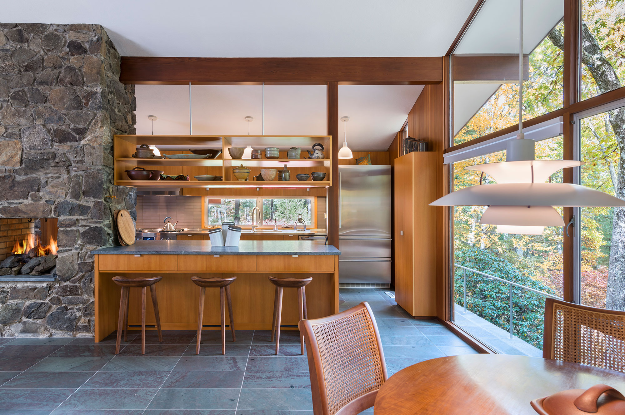 mid-century modern kitchen with floating cabinets