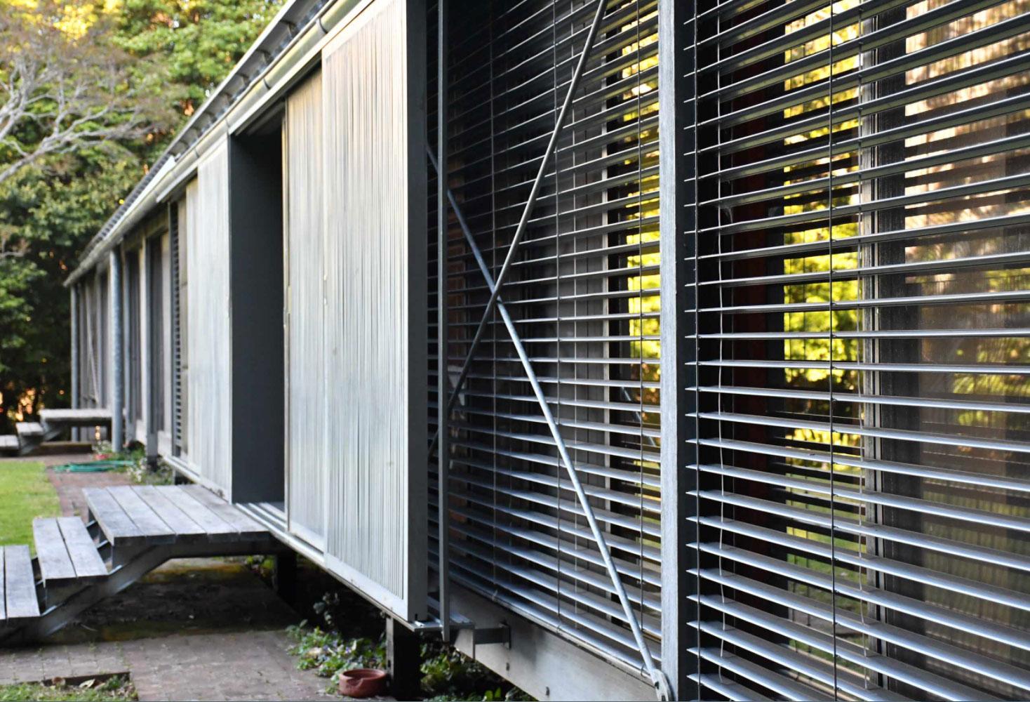 detail of exterior wood screens