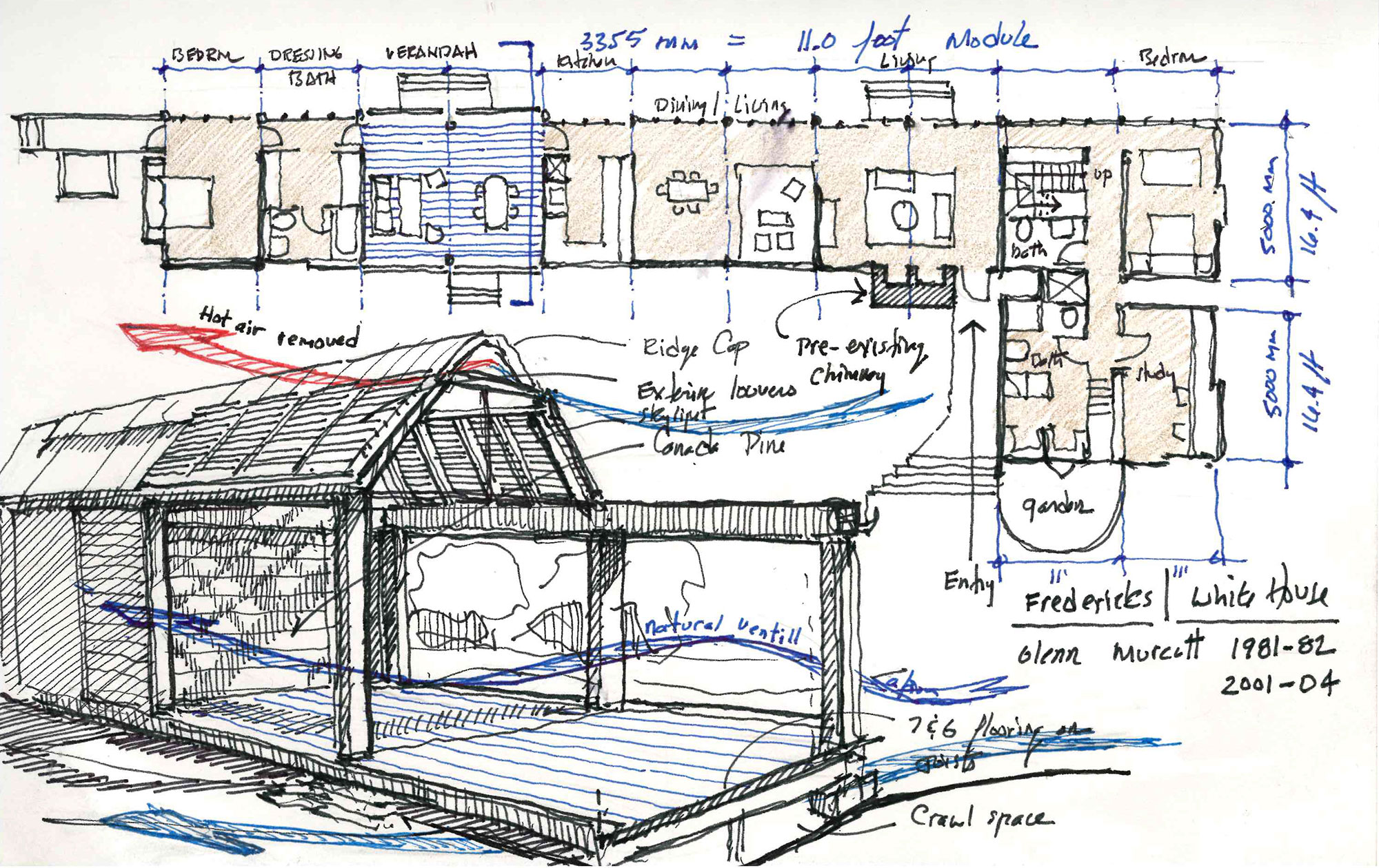 hand drawing sketch floor plan and diagram