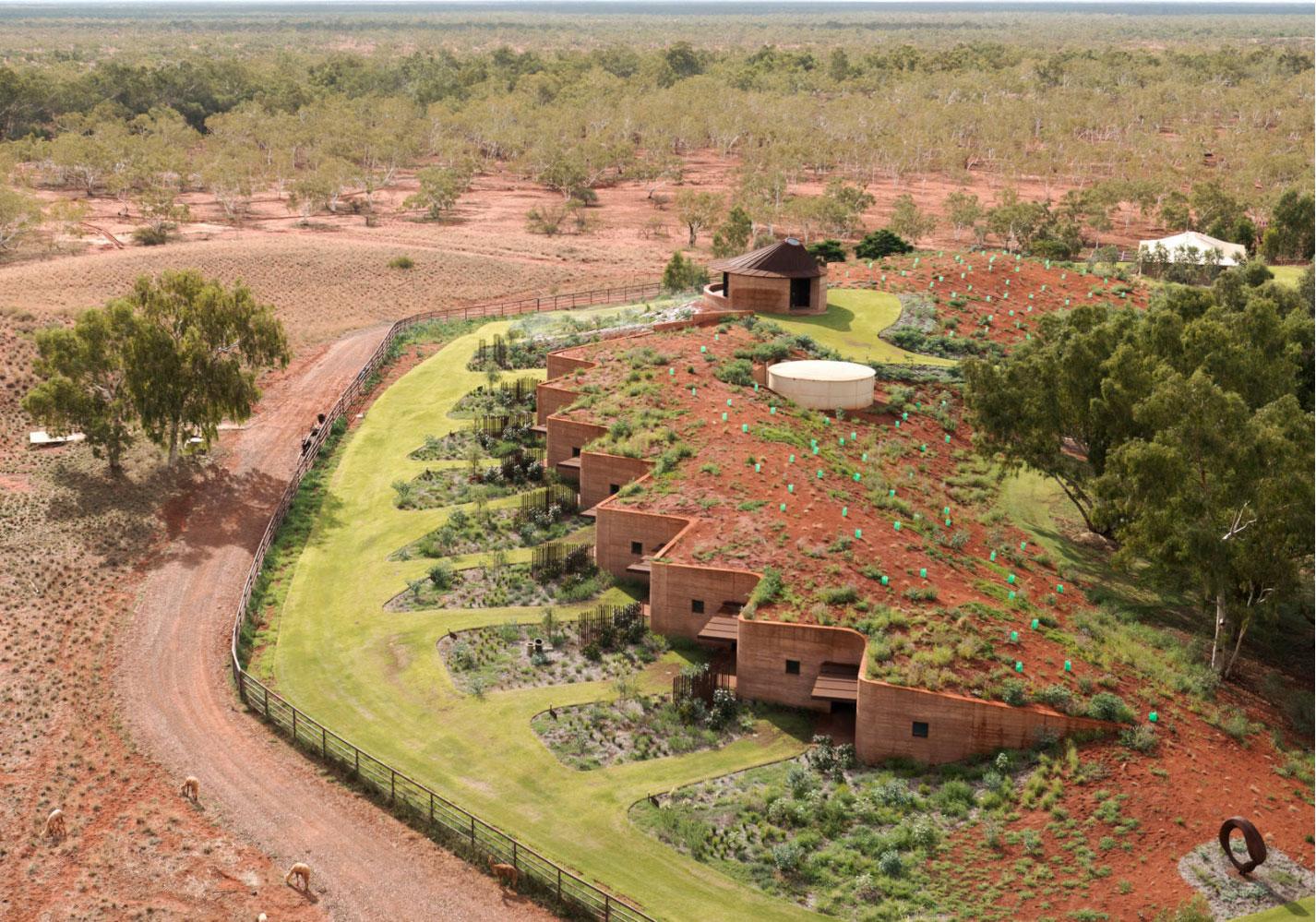 living roof building bermed into the landscape