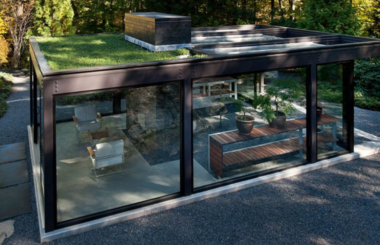 live rooftop on glass and steel greenhouse