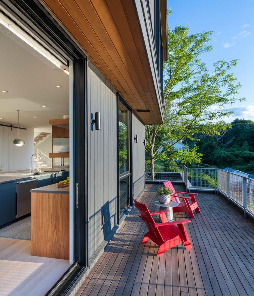 exterior deck at annisquam river house