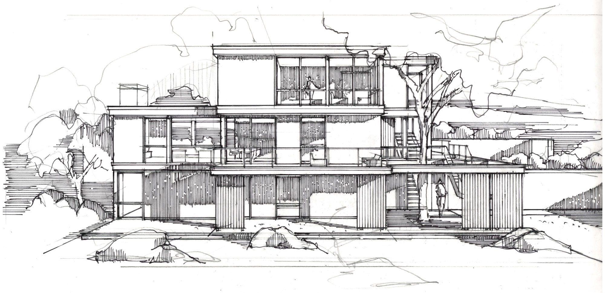 sketch of exterior annisquam river house