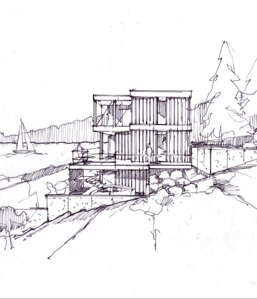 hand sketch of 3 story home on water