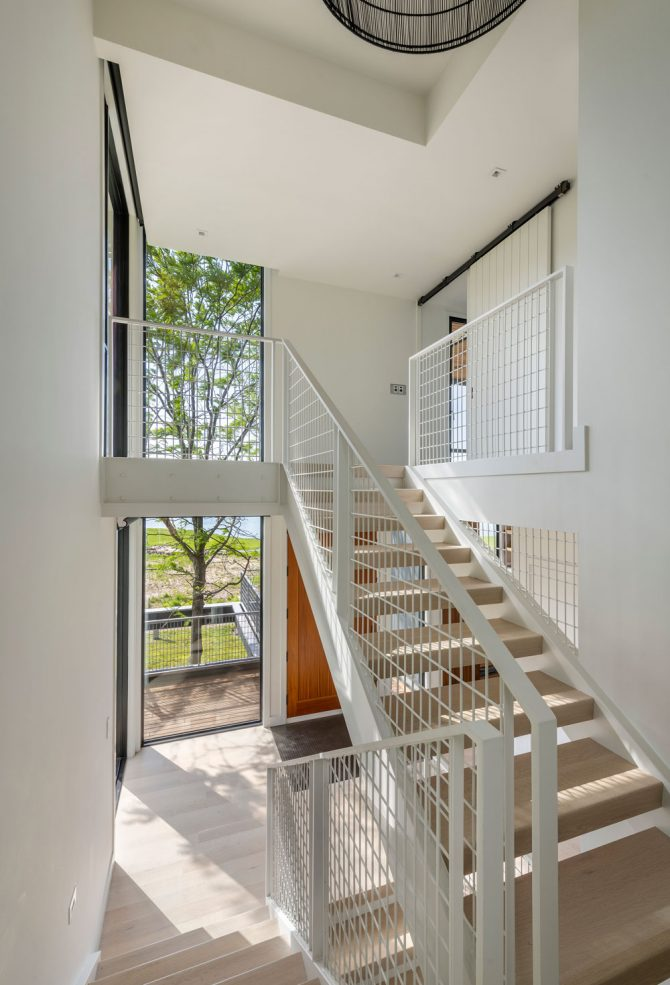 interior stairwell in annisquam river house