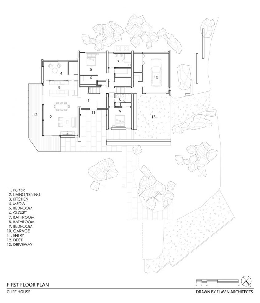 cliff house cad drawing floor plan