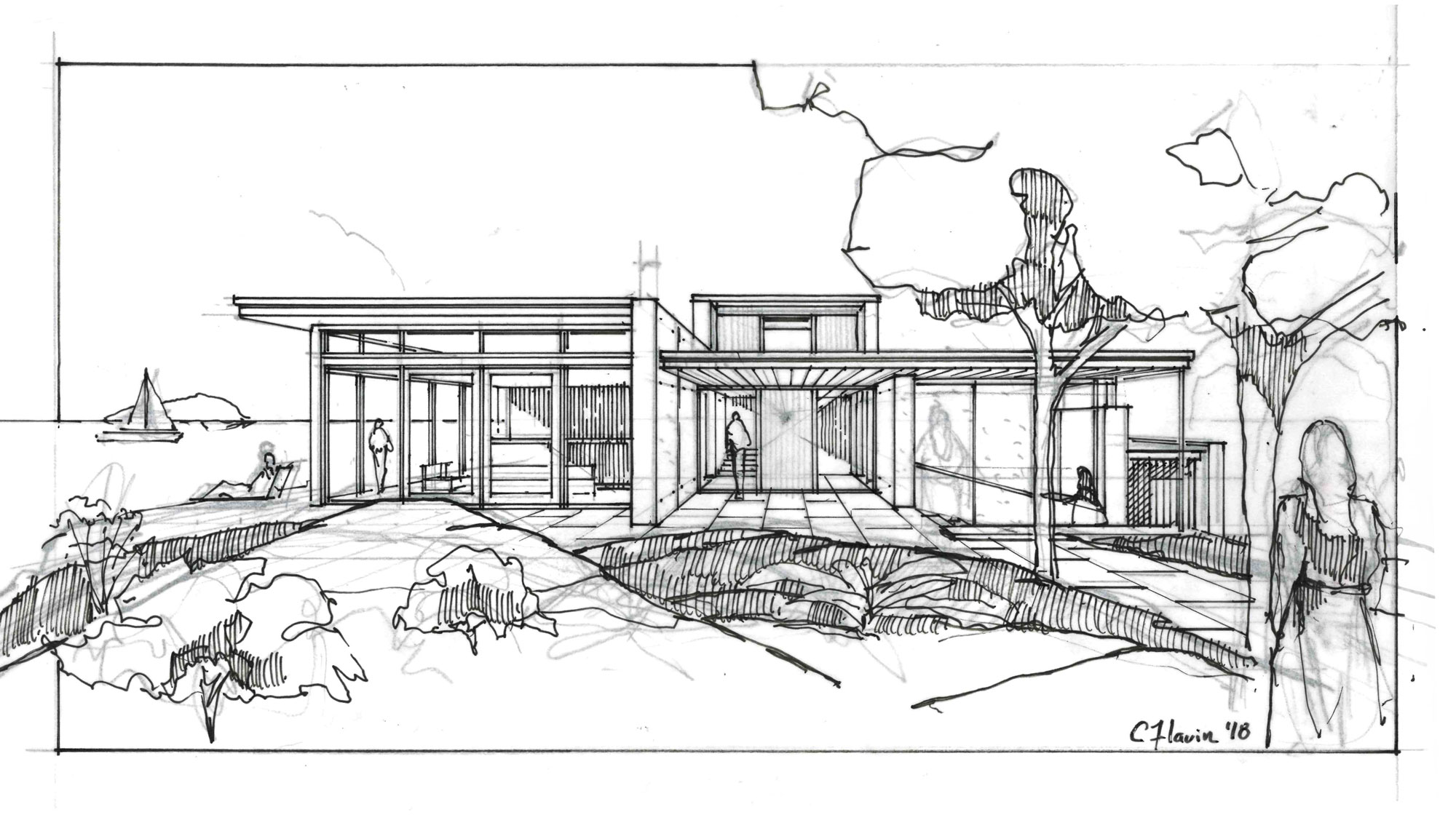 hand sketch of front elevation of concrete home