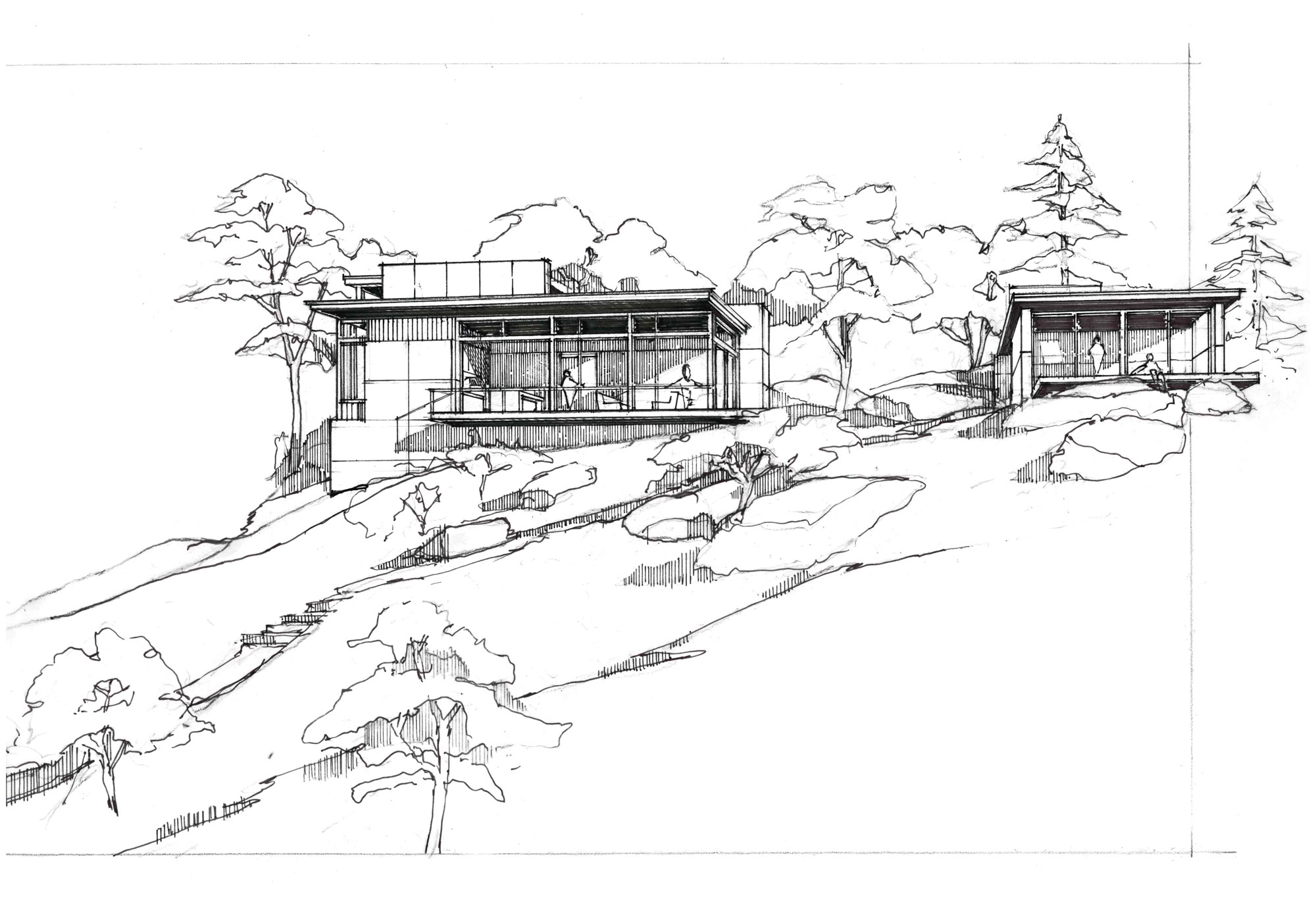 hand sketch of rear elevation of home with studio