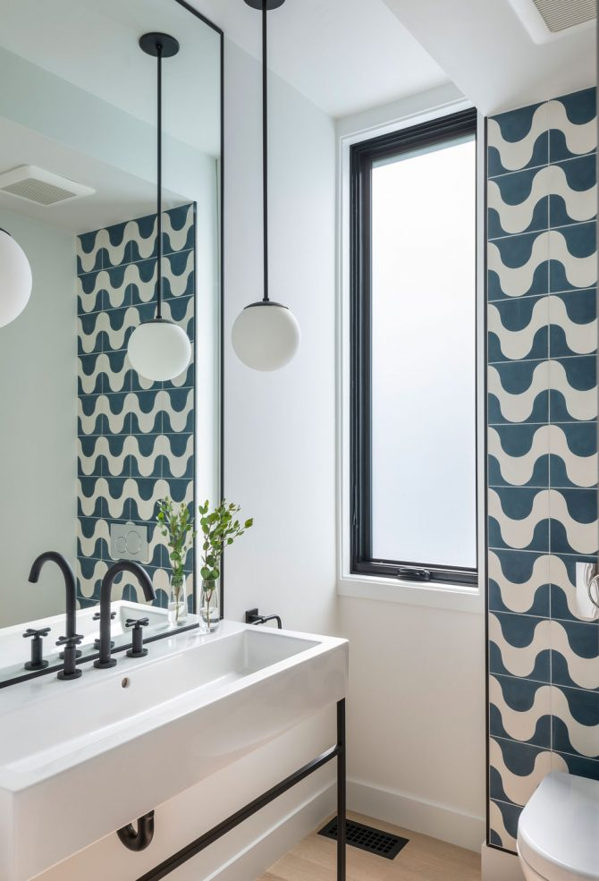 powder room with playful blue tile